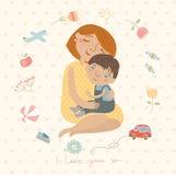 Μητέρα που αγκαλιάζει το παιδί της, χαριτωμένο σχέδιο Στοκ Εικόνες