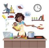 Μητέρα που αποτυγχάνουν να κάνει πολύ πράγμα αμέσως απεικόνιση αποθεμάτων
