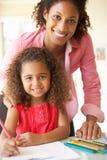 Μητέρα που βοηθά την κόρη με την εργασία στο σπίτι Στοκ φωτογραφία με δικαίωμα ελεύθερης χρήσης
