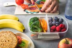 Μητέρα που δίνει το υγιές μεσημεριανό γεύμα για το σχολείο το πρωί στοκ εικόνα με δικαίωμα ελεύθερης χρήσης