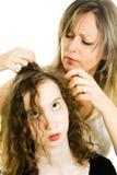 Μητέρα που ελέγχει το κεφάλι του παιδιού για τις ψείρες - ψείρα στο κεφάλι στοκ εικόνες