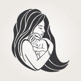 Μητέρα που θηλάζει το σύμβολο μωρών της Έμβλημα συνασπισμού θηλασμού, εικονίδιο υποστήριξης μητέρων θηλασμού Στοκ Εικόνα