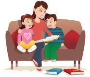 Μητέρα που διαβάζει στα παιδιά απεικόνιση αποθεμάτων