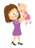 Μητέρα που κρατά ψηλά το κοριτσάκι της διανυσματική απεικόνιση