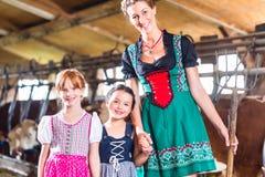 Μητέρα που παρουσιάζει αγελάδες παιδιών στο αγρόκτημα αγελάδων Στοκ εικόνα με δικαίωμα ελεύθερης χρήσης
