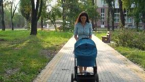 Μητέρα που περπατά με ένα καροτσάκι στο πάρκο πράσινο καλοκαίρι φύσης σφενδάμνου φύλλων ανασκόπησης υγρό απόθεμα βίντεο