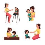 Μητέρα που ταΐζει το μωρό, το γιο, την κόρη, τη συνεδρίαση και τη στάση της ελεύθερη απεικόνιση δικαιώματος