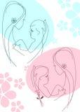 μητέρα συλλογής 2 παιδιών διανυσματική απεικόνιση