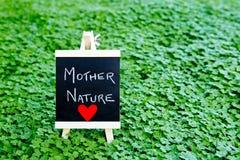 Μητέρα φύση αγάπης - χειρόγραφη στον πίνακα στο πράσινο τριφύλλι Στοκ Φωτογραφία