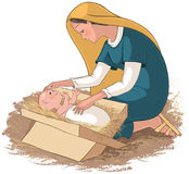 Μητέρα Mary με το παιδί Ιησούς στη φάτνη Στοκ φωτογραφία με δικαίωμα ελεύθερης χρήσης