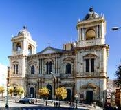 Μητροπολιτικός καθεδρικός ναός Λα Παζ σε Plaza Murillo την ηλιόλουστη ημέρα με το μπλε ουρανό, Λα Παζ, Βολιβία Στοκ εικόνα με δικαίωμα ελεύθερης χρήσης