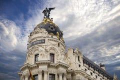 Μητρόπολη - ένα από τα ομορφότερα κτήρια στη Μαδρίτη, Spai στοκ φωτογραφίες