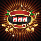 Μηχάνημα τυχερών παιχνιδιών με κέρματα στη λαμπρή ανασκόπηση Στοκ Εικόνες