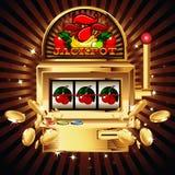 Μηχάνημα τυχερών παιχνιδιών με κέρματα στη λαμπρή ανασκόπηση Στοκ φωτογραφία με δικαίωμα ελεύθερης χρήσης
