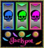 Μηχάνημα τυχερών παιχνιδιών με κέρματα με τα ζωηρόχρωμα κρανία Στοκ Εικόνα