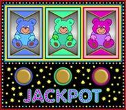 Μηχάνημα τυχερών παιχνιδιών με κέρματα με τις ζωηρόχρωμες teddy αρκούδες Στοκ Εικόνες