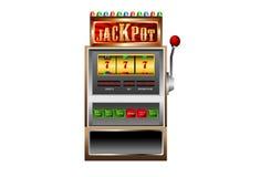 Μηχάνημα τυχερών παιχνιδιών με κέρματα 777 διάνυσμα τζακ ποτ Στοκ Εικόνες