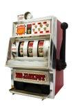 Μηχάνημα τυχερών παιχνιδιών με κέρματα με το τζακ ποτ τριών κουδουνιών Στοκ Φωτογραφίες