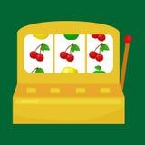 Μηχάνημα τυχερών παιχνιδιών με κέρματα με τρία επτά s στο πράσινο υπόβαθρο κερδίστε το εικονίδιο χαρτοπαικτικών λεσχών παιχνιδιού διανυσματική απεικόνιση