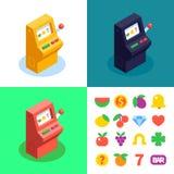 μηχάνημα τυχερών παιχνιδιών με κέρματα 3 χρώματος και επίπεδα εικονίδια αυλακώσεων Στοκ Φωτογραφία