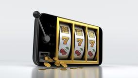 Μηχάνημα τυχερών παιχνιδιών με κέρματα Smartphone Στοκ Εικόνες
