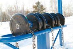 Μηχανές ήλιων και ικανότητας στα ξύλα στους δημόσιους προσομοιωτές χειμώνα για όλους τους ελθόντες, μπλε υπαίθριοι προσομοιωτές Στοκ Εικόνες