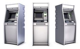 Μηχανές μετρητών τράπεζας του ATM Απομονωμένος στο λευκό διανυσματική απεικόνιση