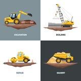 Μηχανήματα 4 κατασκευής επίπεδο τετράγωνο εικονιδίων ελεύθερη απεικόνιση δικαιώματος