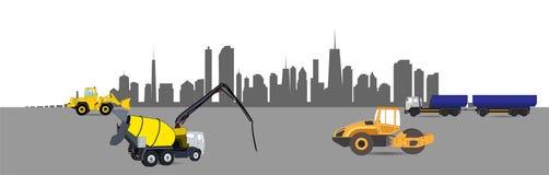 Μηχανήματα κατασκευής στην πόλη διάνυσμα ελεύθερη απεικόνιση δικαιώματος