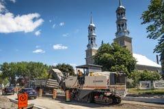 Μηχανήματα οδικού έργου σε Άγιος-Eustache Κεμπέκ στοκ εικόνα