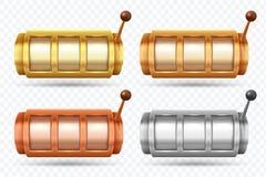 Μηχανήματα τυχερών παιχνιδιών με κέρματα Περιστρεφόμενη μηχανή χρυσών, ασημένιων και τζακ ποτ χαλκού Διανυσματικό σύνολο τυχερού  διανυσματική απεικόνιση