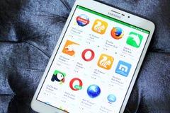 Μηχανή αναζήτησης Ιστού apps για κινητό Στοκ Εικόνες