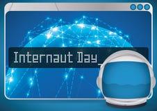Μηχανή αναζήτησης με το σχέδιο δικτύων και κράνος αστροναυτών για την ημέρα Internaut, διανυσματική απεικόνιση Στοκ Εικόνα