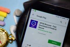 Μηχανή αναζήτησης APUS - γρήγορα μεταφορτώστε & ιδιωτικό & ασφαλές dev app με την ενίσχυση στην οθόνη Smartphone στοκ φωτογραφίες με δικαίωμα ελεύθερης χρήσης