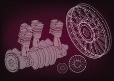 Μηχανή και ρόδες αυτοκινήτων απεικόνιση αποθεμάτων