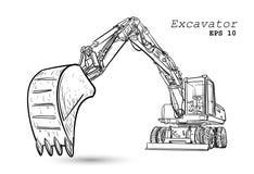 Μηχανή κατασκευής - εκσακαφέας, εκσκαφέας διανυσματική απεικόνιση