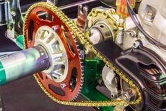 Μηχανή μοτοσικλετών κίνησης ραχών Στοκ Φωτογραφίες