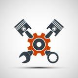 Μηχανή λογότυπων με τους δύτες και ένα γαλλικό κλειδί Απόθεμα Illustratio Στοκ Εικόνες