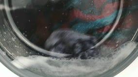 μηχανή που καλύπτονται στενή επάνω στην πλύση Διαδικασία εργασίας απόθεμα βίντεο