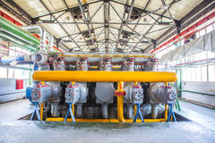 Μηχανή συμπιεστών και συλλεκτών στο εργοστάσιο Στοκ φωτογραφίες με δικαίωμα ελεύθερης χρήσης
