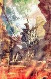 Μηχανή τρυπανιών ατμού στη ζωγραφική απεικόνισης σηράγγων πυρκαγιάς Στοκ Εικόνες