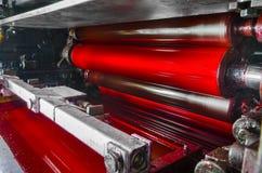 Μηχανή τυπωμένων υλών, κόκκινο τύμπανο χρώματος μελανιού magenda Στοκ Εικόνες