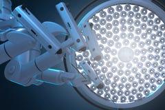 Μηχανή χειρουργικών επεμβάσεων ρομπότ με τα φω'τα χειρουργικών επεμβάσεων ελεύθερη απεικόνιση δικαιώματος