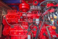 Μηχανή diesel, κόκκινη μηχανή Στοκ Φωτογραφίες