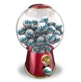 Μηχανή Gumball ιδεών πολλή δημιουργικότητα φαντασίας σκέψεων Στοκ Εικόνες