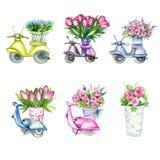 Μηχανικά δίκυκλα με τα λουλούδια Στοκ φωτογραφία με δικαίωμα ελεύθερης χρήσης