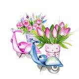 Μηχανικά δίκυκλα με τα λουλούδια Στοκ εικόνα με δικαίωμα ελεύθερης χρήσης