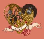 Μηχανική ανθρώπινη καρδιά με την εγγραφή ΑΓΑΠΗΣ σε μια κορδέλλα Στοκ Εικόνες