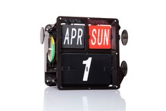 Μηχανική ημερολογιακή αναδρομική ημερομηνία που απομονώνεται Στοκ εικόνες με δικαίωμα ελεύθερης χρήσης