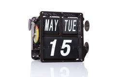 Μηχανική ημερολογιακή αναδρομική ημερομηνία που απομονώνεται Στοκ φωτογραφίες με δικαίωμα ελεύθερης χρήσης